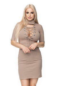 0114 LACED UP BODYCON DRESS CAPPUCCINO