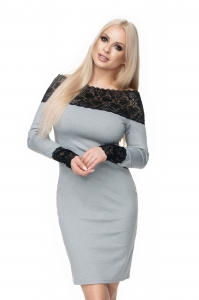 0117 CARMEN STYLE DRESS WITH LACE GREY