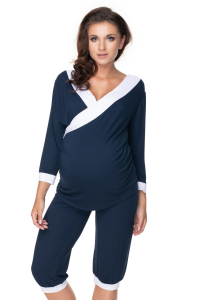0153 MATERNITY NURSING NIGHTWEAR PYJAMA PANTS NAVY